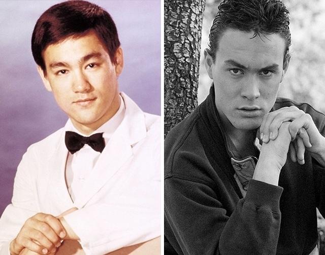 """Người thanh niên ở bức ảnh bên phải chính là Brandon Lee, con trai của ngôi võ thuật quá cố Lý Tiểu Long. Brandon Lee nối nghiệp cha mình tham gia vào lĩnh vực điện ảnh nhưng cuối cùng đã không may mất mạng trong khi đóng bộ phim """"The Crow"""" năm anh 28 tuổi."""