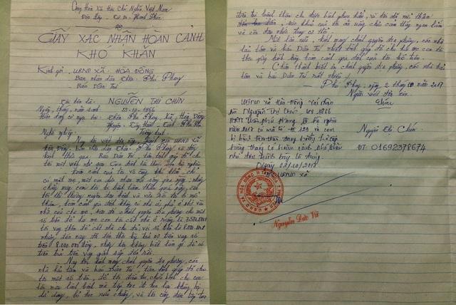 Đơn xác nhận hoàn cảnh khó khăn của gia đình mẹ Nguyễn Thị Chín