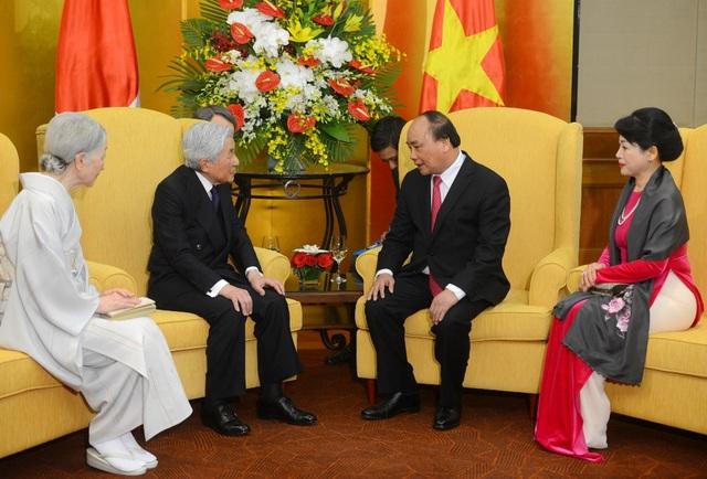 Thủ tướng Nguyễn Xuân Phúc và Phu nhân đã hội kiến với Nhà vua và Hoàng hậu Nhật Bản chiều ngày 2/3 (Ảnh: Tiến Tuấn)