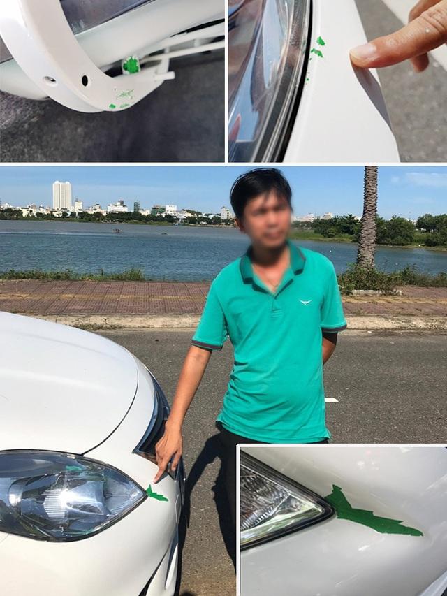 Xe Nissan Sunny bị bong lớp sơn bên ngoài để lộ sơn xanh bên trong