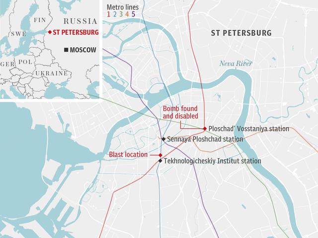 Vị trí ga tàu điện ngầm trong vụ nổ khiến ít nhất 11 người thiệt mạng chiều 3/4 ở St.Petersburg. (Ảnh: Dailymail)