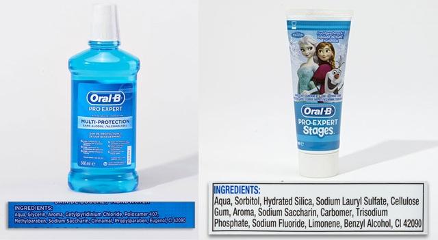 Nước xúc miệng (Propylparaben) và kem đánh răng trẻ em (Sodium lauryl sulfate) của Oral B