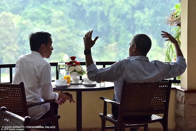 Tổng thống Widodo và ông Obama ngồi trò chuyện tại lâu đài Bogor (Ảnh: AFP/Getty)