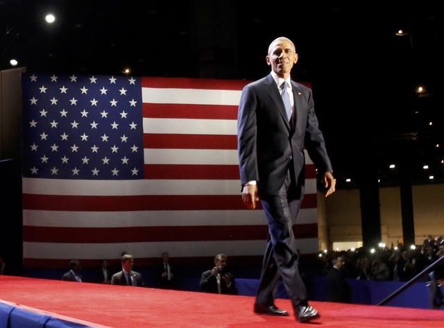 Ông Obama xuất hiện tại khán phòng (Ảnh: Reuters)