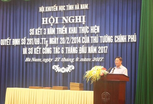 Ông Lê Trọng Thi - Ủy viên Ban Chấp hành Trung ương Hội KH Việt Nam - Chủ tịch Hội KH tỉnh Hà Nam phát biểu tại hội nghị