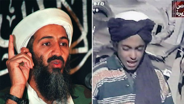 Trùm khủng bố Osama bin Laden (trái) và con trai Hamza khi còn nhỏ (Ảnh: AFP)