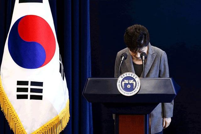 Bà Park cúi đầu nhận lỗi với toàn dân trong bài phát biểu tại Nhà Xanh hôm 29/11/2016 sau khi các vụ bê bối bị khui ra. (Ảnh: EPA)