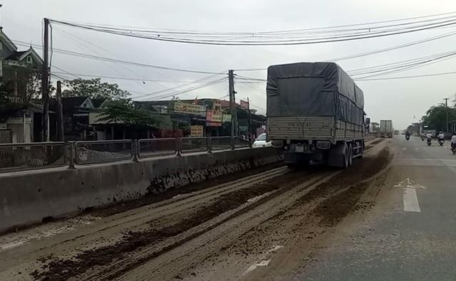 Đống phân bò nằm chình ình giữa quốc lộ 1A, sau đó bị các xe ô tô kéo đi gây ô nhiễm suốt nhiều km.