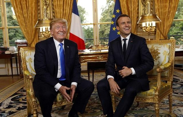 Hai nhà lãnh đạo Mỹ-Pháp hội đàm tại Điện Elysee. (Ảnh: Getty)