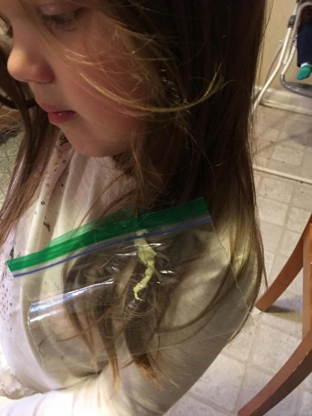 """Con gái cưng bị vướng kẹo cao su vào tóc và đây là cách giải quyết """"hài hước"""" của ông bố."""
