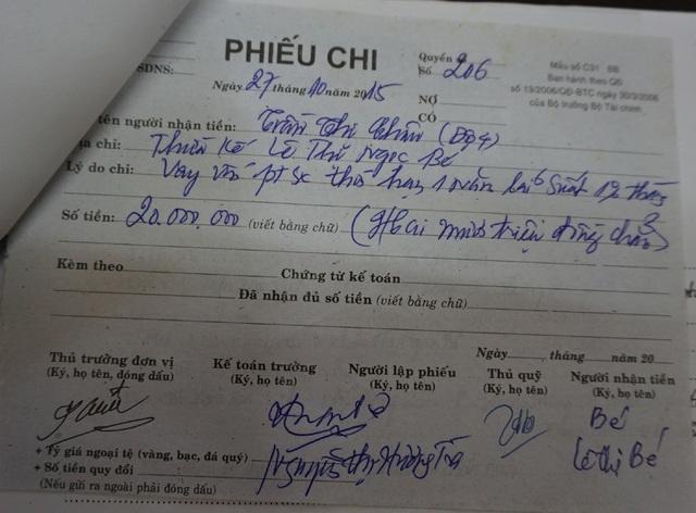 Phiếu chi tiền có chữ ký của bà Lê Thị Ngọc Bé được Ban quản trị HTX nông nghiệp Hưng Dũng khẳng định do ông Lê Bá Tấn ký hộ con