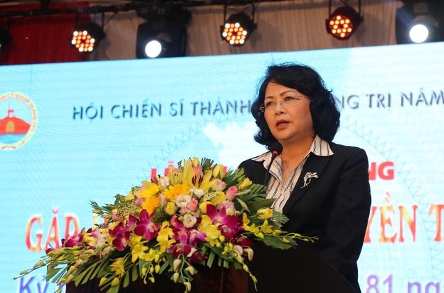 Phó Chủ tịch nước Đặng Thị Ngọc Thịnh ghi nhận những đóng góp của Hội chiến sĩ Thành cổ trong công tác đền ơn đáp nghĩa