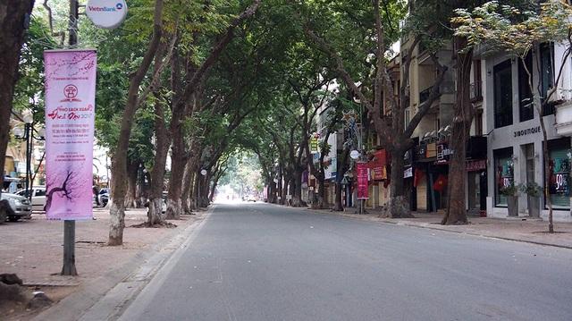 Đường Phan Đình Phùng thường ngày vốn sầm uất, đông đúc trong ngày đầu năm mới cũng trở nên vắng vẻ, yên bình.