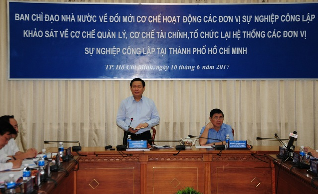 Phó Thủ tướng Chính phủ Vương Đình Huệ phát biểu chỉ đạo tại buổi làm việc với UBND TPHCM