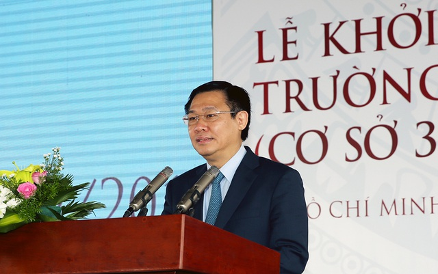 Phó Thủ tướng Chính phủ Vương Đình Huệ phát biểu tại lễ khởi công khu đô thị trường ĐH Văn Lang