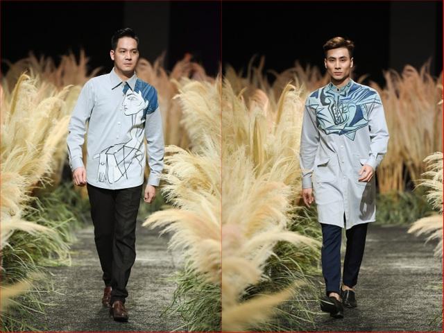 Màu xanh là màu sắc chủ đạo của BST. Với mong muốn tạo ra những kiểu dáng thông minh và tránh sự nhàm chán của trang phục công sở nam.