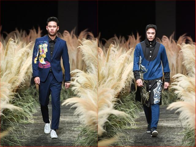 Phong Lan - Tiến Dũng bạo tay trên chất liệu giả gia, những chân dung mang tính lập thể tập trung cho veston nam, với phom dáng của những chiếc blazer thanh lịch.