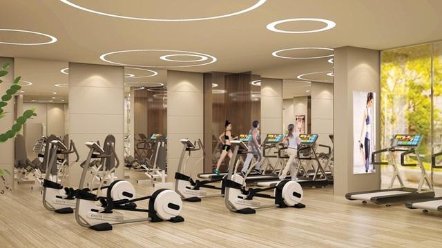 Phòng Gym được trang bị nhiều dụng cụ hiện đại và phổ biến cho việc rèn luyện sức khỏe