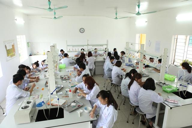 Sinh viên ngành Dược ĐH Thành Tây trong giờ thực hành.