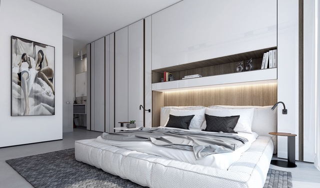 Gợi ý thiết kế phòng ngủ thanh lịch và đẳng cấp với gam màu trắng - 7