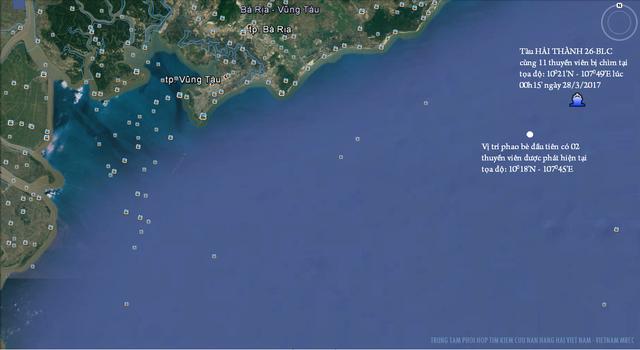 Vị trí tàu Hải Thành 26 bị chìm