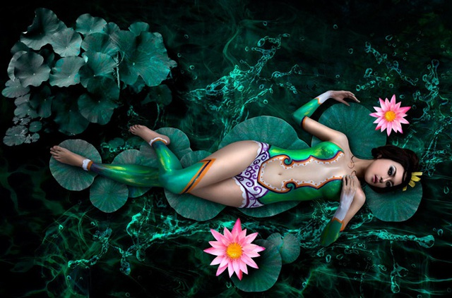 Đã mắt với những bức tranh tuyệt đẹp trên cơ thể thiếu nữ Việt - 1