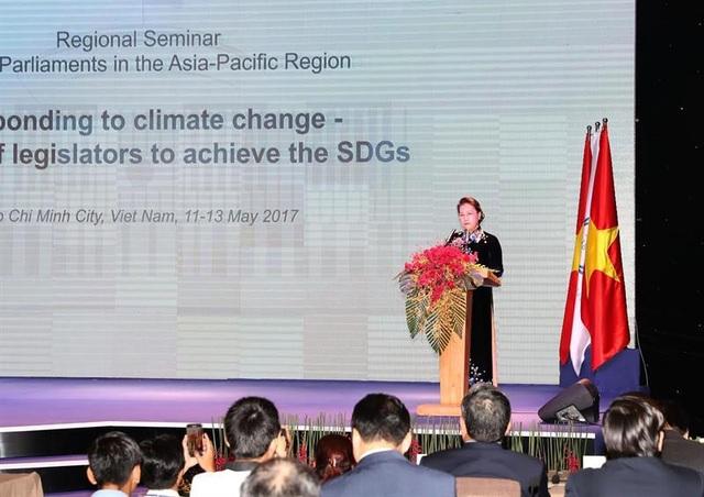 Chủ tịch Quốc hội Nguyễn Thị Kim Ngân phát biểu tại hội nghị (ảnh: Trung tâm thông tin hội nghị)