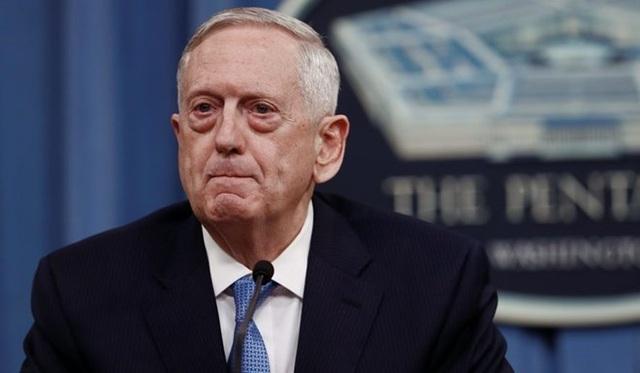 Bộ trưởng Quốc phòng Mỹ Jim Mattis tại cuộc họp báo ở Lầu Năm Góc. (Nguồn: AP)