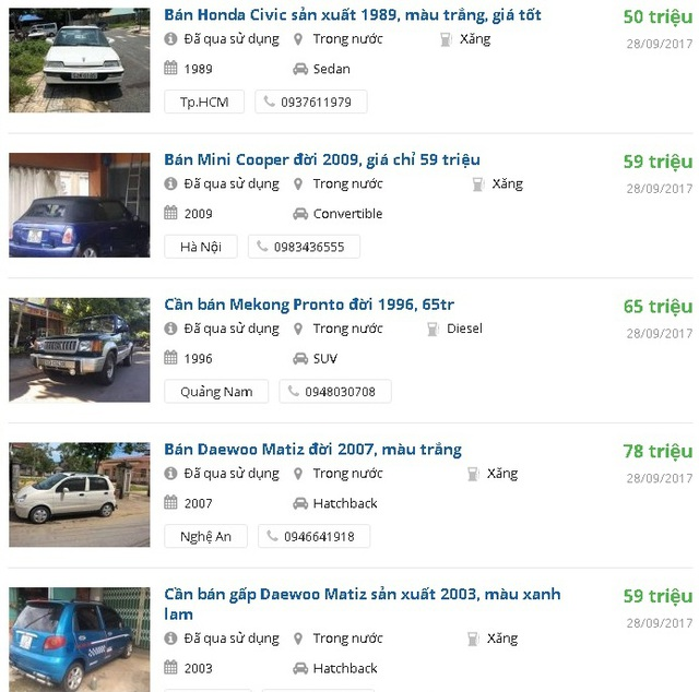Loạt xe ô tô giá trên dưới 50 triệu đồng được rao bán trên mạng. Ảnh: Lâm Anh