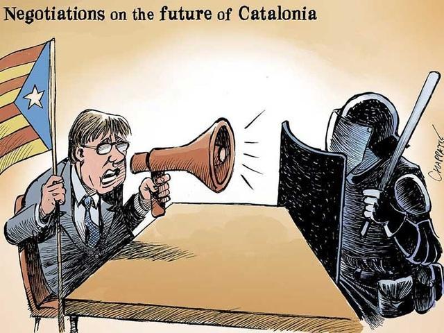Đàm phán giữa Catalonia và chính quyền trung ương theo biếm họa của Patrick Chappatte (Thụy Sĩ).