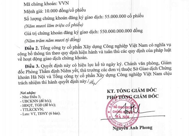 Niêm yết 55 triệu cổ phần VVN trên HNX.