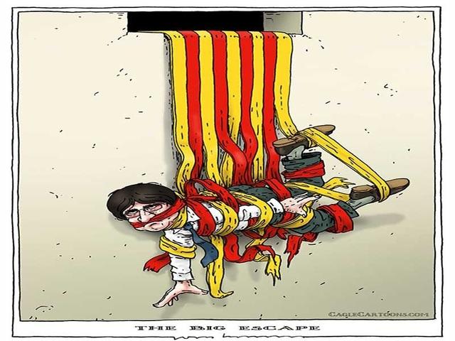 Thủ hiến Carles Puigdemont theo biếm họa của Joep Bertrams (báo The Netherlands của Hà Lan).