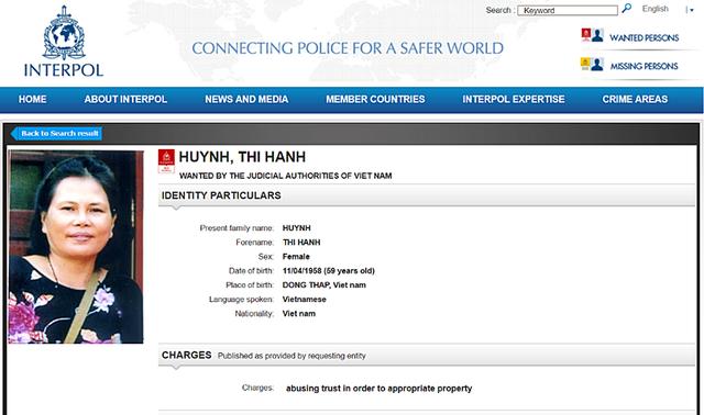 Interpol phát lệnh truy nã toàn cầu bà Huỳnh Thị Hạnh.