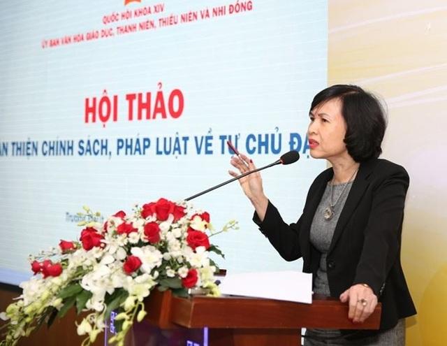GS Mai Hồng Qùy, Hiệu trưởng trường ĐH Luật TPHCM cho rằng, trong tự chủ đại học thì tự chủ nhân sự và tự chủ tài chính đang gặp phải nhiều vướng mắc....