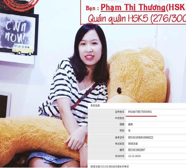 Thủ khoa HSK5 276/300 Phạm Thương được vinh danh