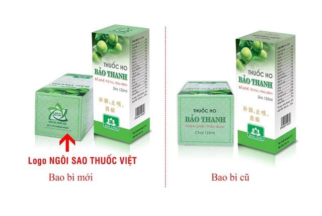 (Hình ảnh Logo Ngôi sao thuốc Việt trên bao bì sản phẩm thuốc ho Bảo Thanh)
