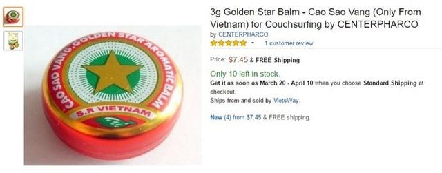 Cao Sao Vàng được rao trên Amazon với giá gấp 80 lần giá từng bán ở Việt Nam.
