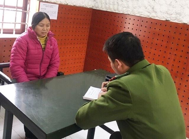 Đối tượng Lường Thị Liu tại Văn phòng cơ quan CSĐT Công an tỉnh Yên Bái.