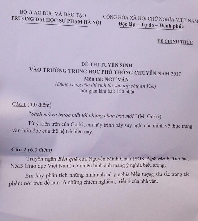 Đề thi tuyển sinh lớp chuyên Văn - THPT Chuyên ĐH Sư phạm Hà Nội 2017.