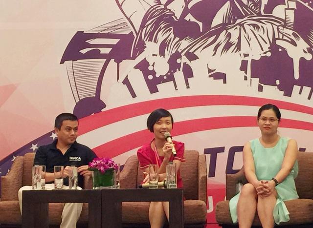 Cao Phương Hà (giữa) chia sẻ kinh nghiệm giành học bổng MBA tại ĐH Kinh doanh Harvard, Mỹ.