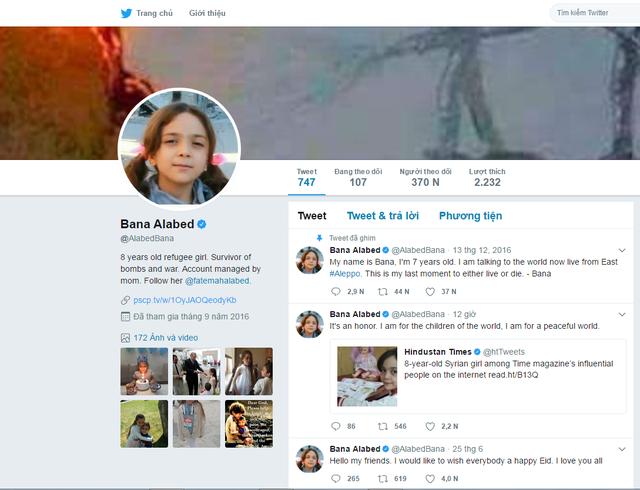 Twitter của cô bé Bana có sức ảnh hưởng khủng trên mạng Internet.