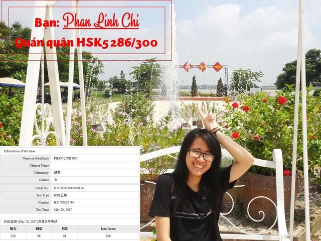 Quán quân HSK5 286/300 Phan Linh Chi được vinh danh.