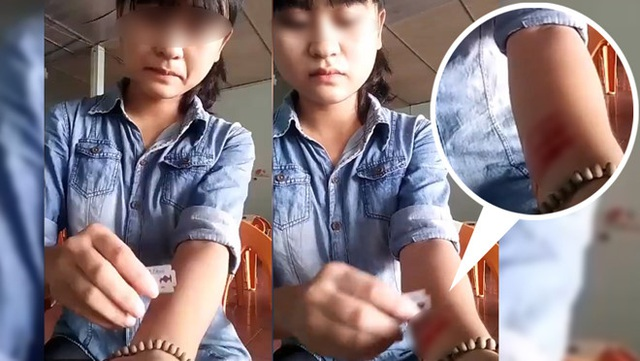 Cô gái ở Nghệ An cắt tay ngay sau khi chia tay người yêu.