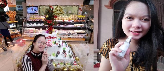 Bên trái là trước khi sử dụng sản phẩm, bên phải là ảnh sau khi sử dụng sảm phẩm của chị Quế