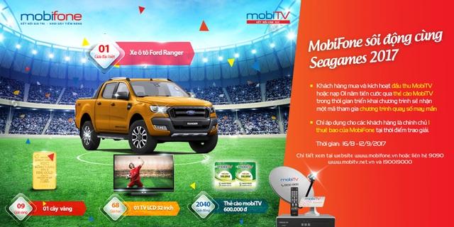 Khách hàng của MobiTV có cơ hội trúng nhiều giải thưởng hấp dẫn trong mùa Seagames 2017
