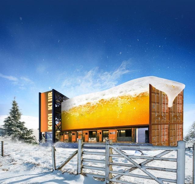 Câu lạc bộ beer Kool Klub lấy cảm hứng thiết kế từ những chiếc container mạnh mẽ, đầy chất phủi bụi