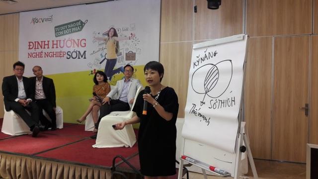 Bà Mai Thúy Hằng, Giám đốc nhân lực chia sẻ những kinh nghiệm về định hướng nghề nghiệp cho các bạn HS, SV trong buổi hội thảo
