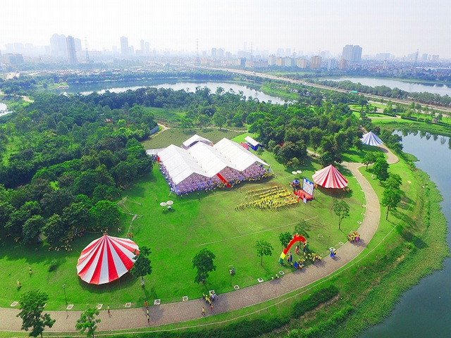 Một phần của công viên Yên Sở nhìn từ trên cao