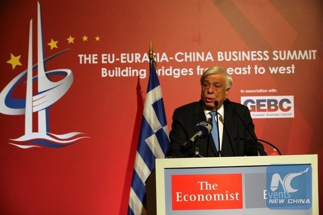 Tổng thống Hy Lạp Prokopis Pavlopoulos khen ngợi Sáng kiến Vành đai và Con đường tại hội nghị thượng đỉnh kinh doanh Liên minh châu Âu - Á Âu - Trung Quốc ngày 9-10 ở Athens (Hy Lạp). Ảnh: THX