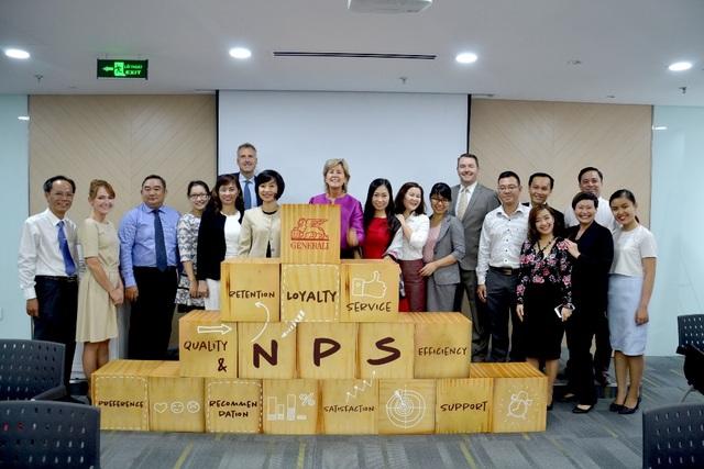 Ban Giám đốc Generali Việt Nam cùng lãnh đạo cấp cao của Tập đoàn và Văn phòng điều hành khu vực tại sự kiện ra mắt hệ thống NPS ở Việt Nam